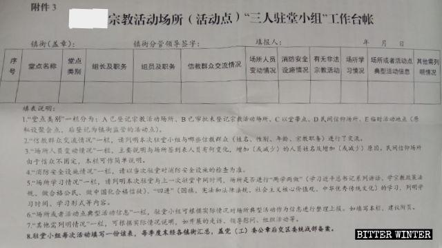 Formular, das nach dem Besuch religiöser Stätten ausgefüllt werden muss