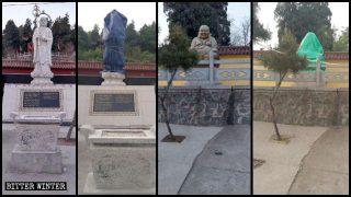 Buddhistische Statuen vor der Inspektion aus Peking zerstört