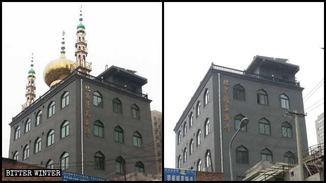 Die Kuppel sowie das Stern und Halbmond-Symbol wurden entfernt.