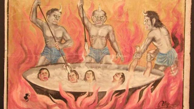 Eine buddhistische Darstellung von Dämonen, die diejenigen foltern, die schändliche Taten in der Hölle begangen haben