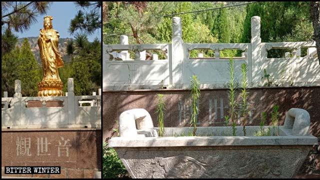 Die Guanyin-Statue wurde entfernt.