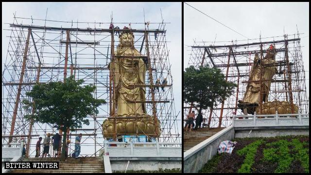 Guanyin-Statue im Qingguo-Tempel wurde abgerissen